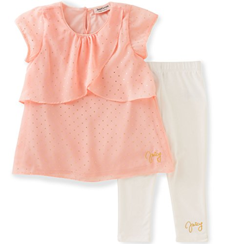 Juicy Couture Little Girls' 2 Piece Georgette Pant Set, Pink, (Georgette Two Piece)