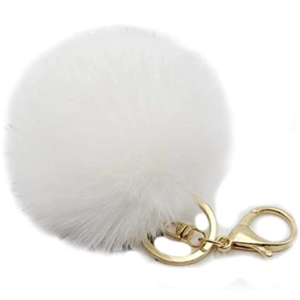 fe8197c802d0 Amazon.com: Valpeak 9.5cm Rabbit Fur Ball Pom Pom Keychain Fluffy Fur  Keychain for Women Fur Pom Pom Key Chain (White): Arts, Crafts & Sewing