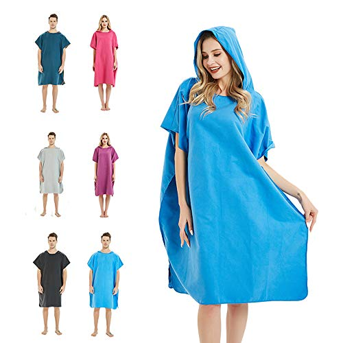 (CAREWORX Surf Beach Poncho Wetsuit Changing Towel Bath Robe Poncho with Hood for Surfing Swimming Bathing Adults Men Women -One Size Fit All(Blue))