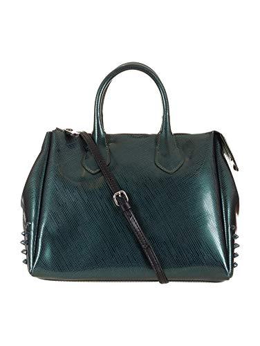 Sac gomme femme, moyen, caoutchouc, sac à bandoulière, clous, bois vert, Cm 33x24x16