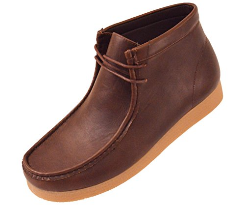 - Amali Men's Shoes Comfortable Faux Leather High Top Moc Boot with Crepe Like Sole, Style Justin, Runs Small Size 1 UP