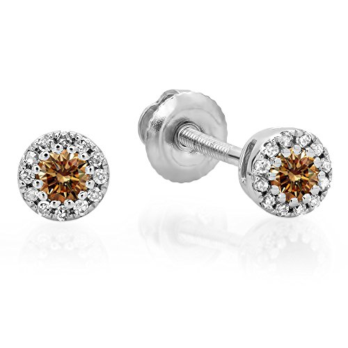 0.20 Carat (ctw) 10K White Gold Round Champagne & White Diamond Ladies Cluster Halo Stud Earrings 1/5 CT