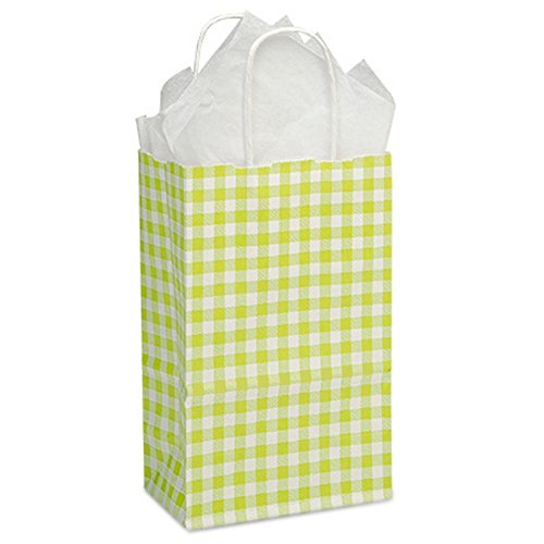Apple Green Gingham Paper Shopping Bags - Rose Size - 5 1/2 x 3 1/4 x 8 3/8in. - 150 Pack by NW