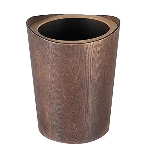 MADHEHAO Massief houten prullenbak met deksel, ronde vuilnisbak met verwijderbare binnenemmers, keuken afvalbak voor…