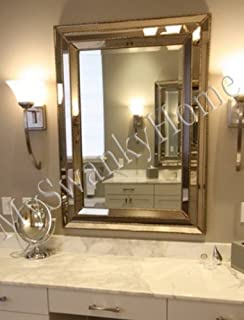 Large Art Deco Designer Wall Mirror Hollywood Glass Frame Venetian Vanity  Mantle