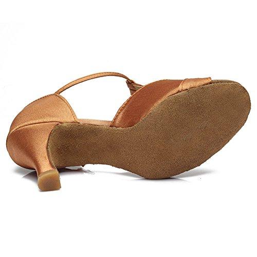 HROYL Damen Dance D7 Satin Braun Latin Schuhe Ballsaal 259 Modell Tanzschuhe 7cm rg6nBfr
