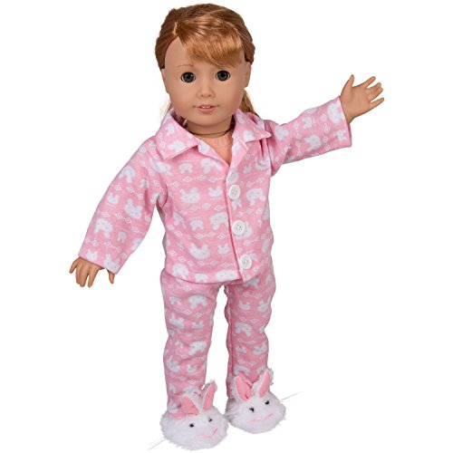 "Dress Along Dolly Bunny Doll Pajamas for 18"" Dolls: 3 Pcs Outfit Including Bunny Shirt, Pants, and Bunny Slippers"