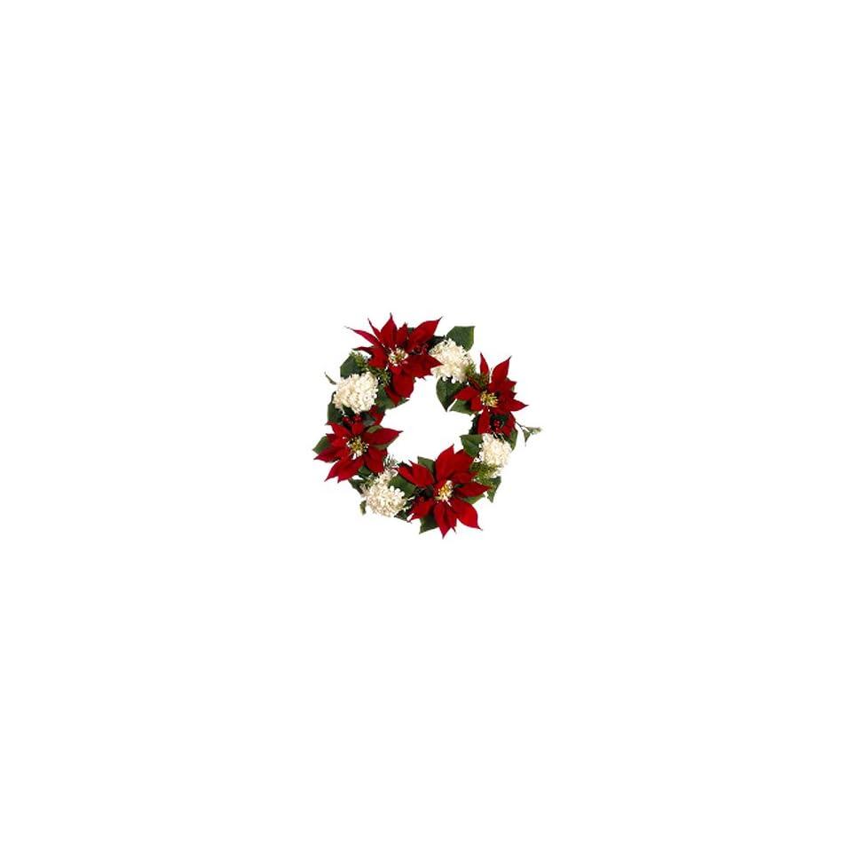 22 La Costa Red Poinsettia & White Hydrangea Holly Artificial Christmas Wreath