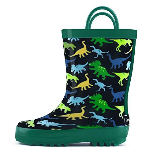 landchief Children's Rubber Printed Rain Boots Waterproof Rain Boots for Toddlers & Little/Big Kids, US11 Little Kid, Green
