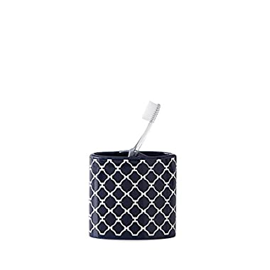 Jill Rosenwald Hampton Links Tooth Brush Holder, 2.17  x 4.33L, Navy/White