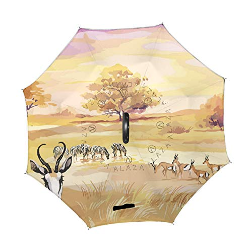 Mr.Lucien Double Layer Inverted African Grassland Animal Deer Zebra Tree Sunset Glow Umbrella Windproof Umbrella Reverse Umbrella Umbrellas for Women with UV Protection 202478