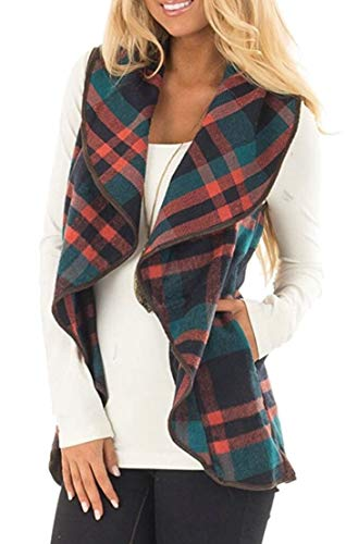 Lapel Cardigan Pocket Womens with Outerwear 6 Plaid TTYLLMAO Wool Sleeveless Jackets IqzB4p