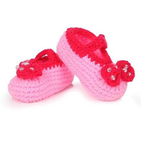 AStorePlus Baby Newborn Prewalker Shoes Handmade Knitted Crochet Socks Slippers-Pink Bowtie with ()