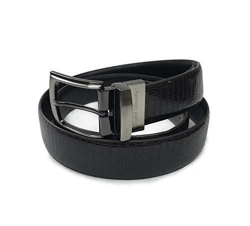 English Laundry Men's Reversible Snake Imprinted Genuine Leather Belt (Black/Brown, 38) ()