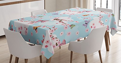 Ambesonne Japanese Decor Tablecloth, Spring Flower with Birds and Butterflies Freshening Sublime Sky Scenery Charm Home Decor, Rectangular Table Cover for Dining Room Kitchen, 52x70 Inches, Pink Blue