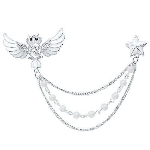 Enameled Silver Pin (DMI Unique Jewelry Rhinestone White Beads Enameled Owl Birl Chain Brooch Pin Silver-Color)