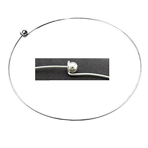 NECKWIRE CHOKER ADD A BEAD 16 INCH LARGE HOLE BEAD NECKLACE BEADING WIRE (Silver (Rigid Wire)