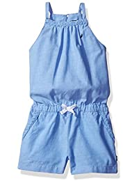 Nautica Girls' Chambray Romper with Self Braid Detail