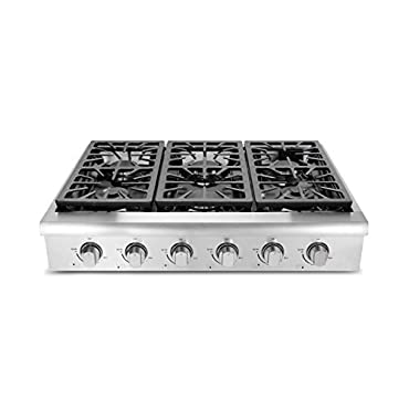 "Thorkitchen HRT3618U 36"" Pro-Style Gas Rangetop with 6 Sealed Burners, Stainless Steel"