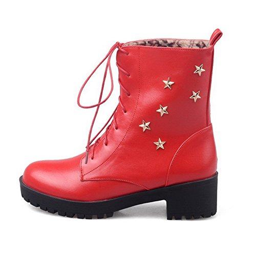 AllhqFashion Mujeres Caña Baja Sólido Cordones Puntera Redonda Tacón Medio Botas con Metal Rojo