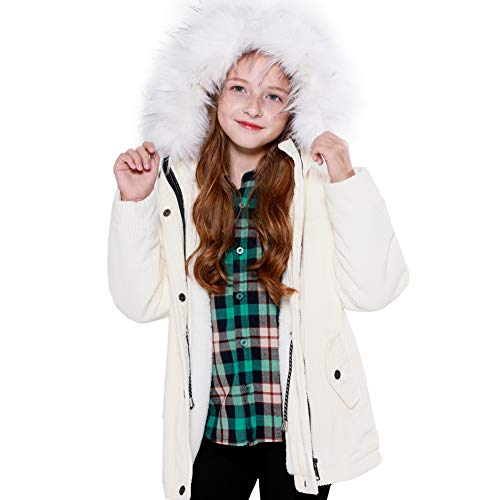 - SOLOCOTE Girls Warm Coat 3-12Y Hooded Outwear Cotton and Corduroy Jacket