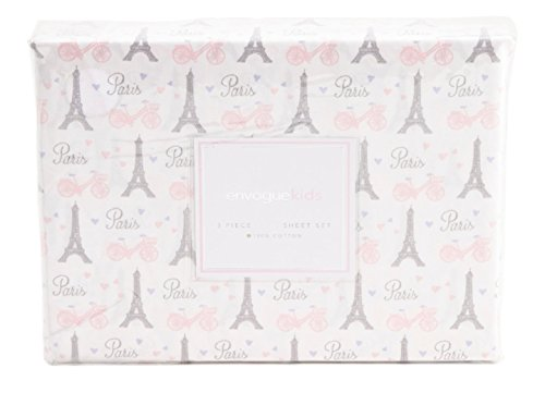 Envogue Kids Paris Full Sheet Set 4 pc Cotton Pink Eiffel Tower Bicycles Hearts French Script Gray White Cotton by ENVOGUE