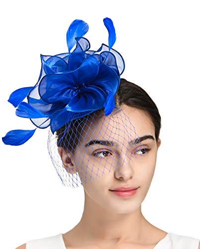 Fascinators Headband Tea Party Hats for Women Royal Wedding Hat Feather Mesh Hair Clip (4-Blue) (Blue Hat Royal Church)