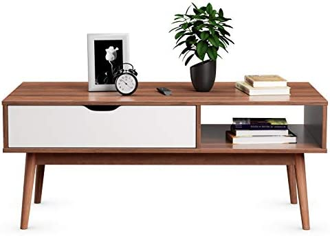 Giantex Coffee Table Big Size 47″ Mid Century Wooden TV Stand W/Drawer Storage Shelf