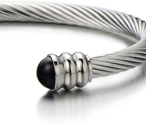 Couleur Argent COOLSTEELANDBEYOND Bracelet en Acier Inoxydable pour Hommes Femme R/églable Bracelet Manchette C/âble Torsad/é