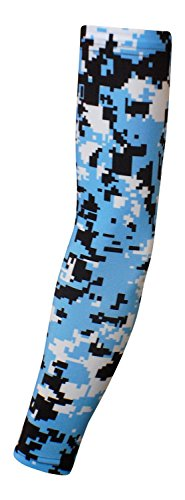 Nexxgen Sports Apparel Moisture Wicking Compression Arm Sleeve (Single) - Men, Women, Adult & Youth - 40 Colors – Digital Camo & Elite (Youth Large, Light Blue/Black/White)