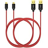 [2-Pack] Anker Nylon Braided Tangle-Free Micro USB Cable with Gold-Plated Connectors for Android, Samsung, HTC, Nokia, Sony and More (Red) (3ft)