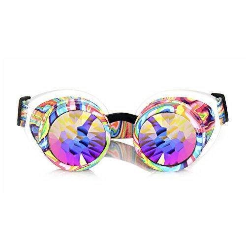 GloFX Kandi Swirl Padded Kaleidoscope Goggles Diffraction Rave EDM Limited Edition Rainbow