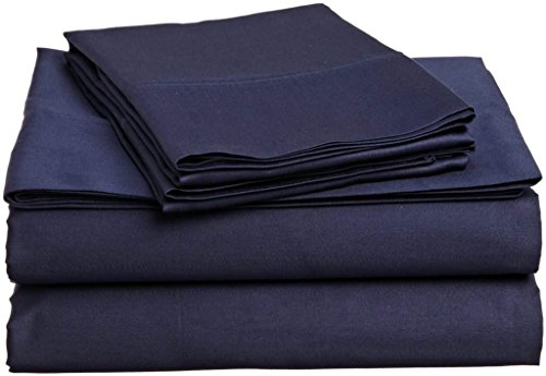 (400 Thread Count 4 Piece Set Full Size Sheets Set Navy Blue Long Staple Combed Pure Natural 100% Cotton Sheet Set deep Pocket fits Upto 15 inch Soft & Silky Sateen Weave Bedding Set)