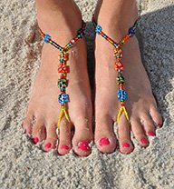 SunSandals Barefoot Sandals Foot Ankle Jewelry Anklets - Confetti - (Bare Sandal)