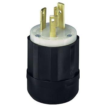 Leviton 2621 30 Amp, 250 Volt, Nema L6-30p, 2p, 3w, Locking Plug, Industrial Grade, Grounding - Black-white 0