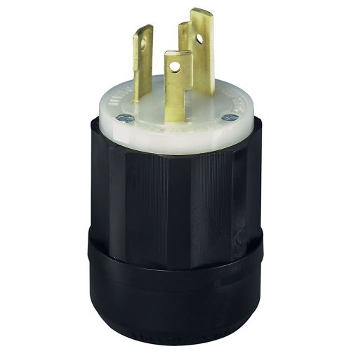 (Leviton 2621 30 Amp, 250 Volt, NEMA L6-30P, 2P, 3W, Locking Plug, Industrial Grade, Grounding - Black-White)