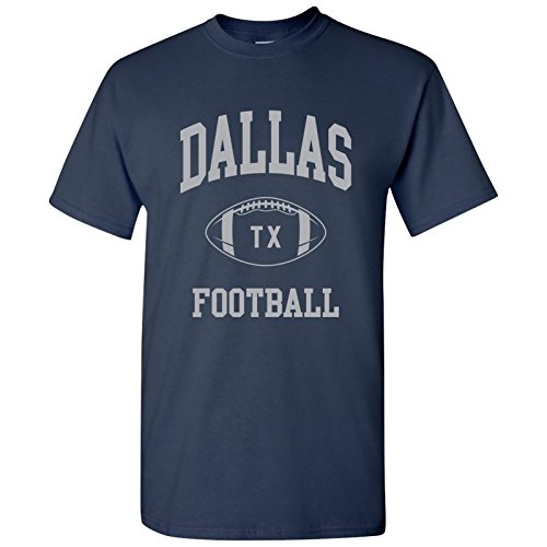 Dallas Classic Football Arch Basic Cotton T-Shirt - 2X-Large - Navy