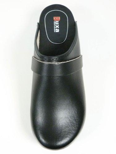 Zuecos de Cuero Unisexo con suela de Madera. Azul Negro