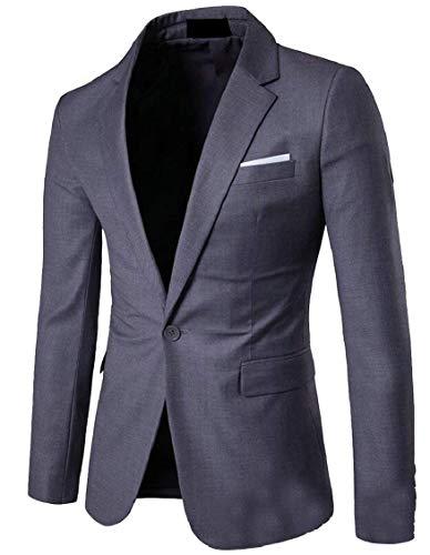 Veste 1 Bouton Casua Parti Fit Slim De Costume Hommes Moderne Blazer À Manches Manteau Mariage Élégant Tuxedo Dunkelgrau Vintage Longues 6vERWOCq