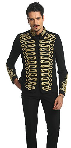 Pizoff Men's Luxury Gold Slim Fit Stylish Suit Blazer Jacket Long Sleeve Formal Dress AD001-03-S by Pizoff (Image #2)