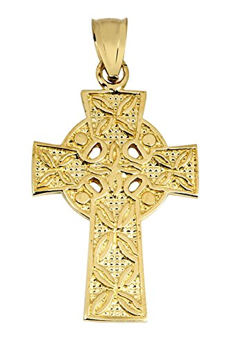 Solid 10k Yellow Gold Irish Celtic Cross Trinity Pendant (Solid Celtic Cross)