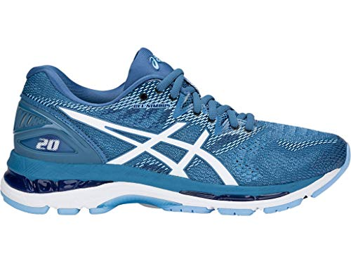 ASICS Women's Gel-Nimbus 20 Running Shoes, 9M, Azure/White