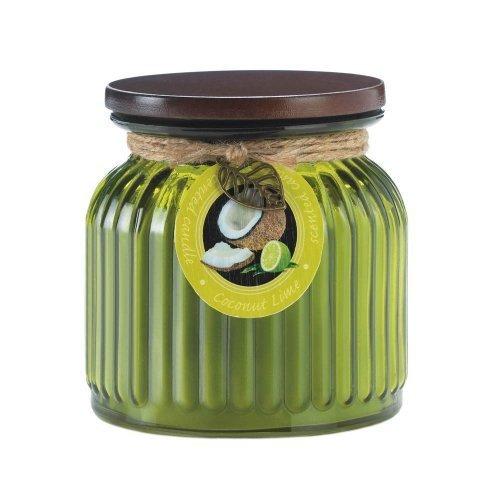 Koehler Home Decorative Coconut Lime Ribbed Jar Candle