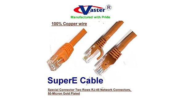 ORANGE 24Awg wire RJ45 Snagless Straight Patch Cable UL CSA ETL 10 Ft // 20 Pcs // Pack 6 Patch Cable 20974 Vaster SKU Not CCA wire 100/% Copper CAT