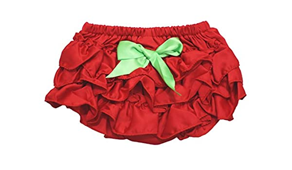 Petitebella Dress Lime Green Bow Red Ruffles Cotton Bloomer for Baby 6-24m