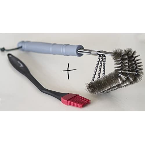 "BEST BBQ Grill Brush 18"" LONGER HANDEL TRIPLE 3-1 Stainless Steel Wire NEW DESIGN front angled up for safe cleaning Weber-Big Green Egg-Char Broil- SAFE on all Grills Grates surfaces 100% Guarantee"