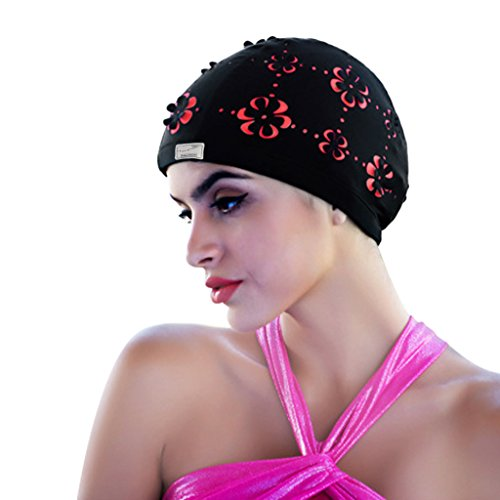 (Vintage Lycra Swim Cap Floral Petal Retro Bathing Caps for Women Girl Long Hair)