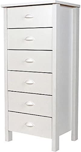 6-Drawer White Elegant Design Completely Removable Drawers Plastic Cup-Style Handles Wood Composite Construction Lingerie Bureau