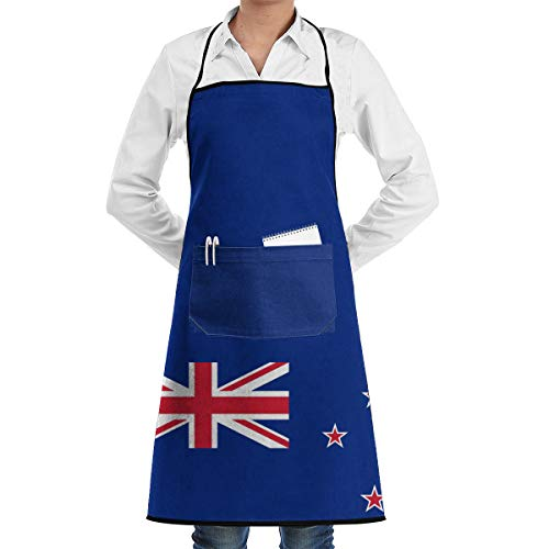 Coral Sea Islands New Zealand Flag Aprons Bib Adjustable Polyester Adult Long Full Kitchen Chef Cooking Gardening Apron for Outdoor Restaurant BBQ Serving Grill Cleaning Crafting Baking ()