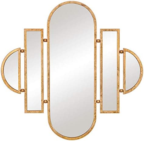 Patton Wall Decor 30×31 Antique Gold Geometric Oval Vanity Wall Mounted Mirror